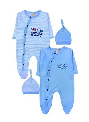 By Leyal For Kids Kaplumbağa Detaylı  2Li Tulum Ve Şapka Takım-4254 Mavi